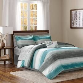 Madison Park Essentials Saben King Complete Comforter & Cotton Sheet Set in Aqua - Olliix MPE10-696