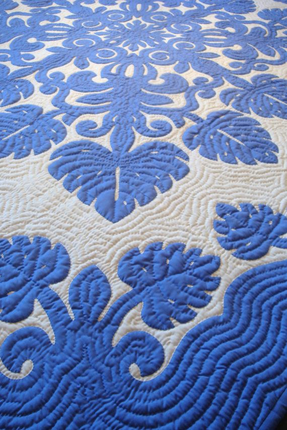 Blue Hawaii - Gorgeous Hawaiian Quilt