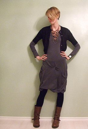 Manila Grace dress with Max cardigan and biker boots - getting inspriration for new moto boots