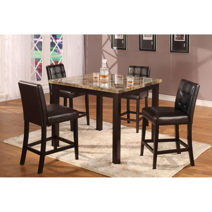5pc Dark Artificial Marble Top Counter Height Dinette Dinning Set Table 4 Chairs