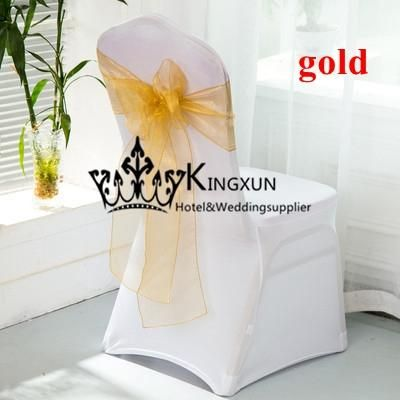 For Wedding White Lycra Spandex Chair Cover With Gold Color Organza Chair Sash Wingback Chair Cover Designer Chair Covers From Kingxuntex, $301.51| Dhgate.Com