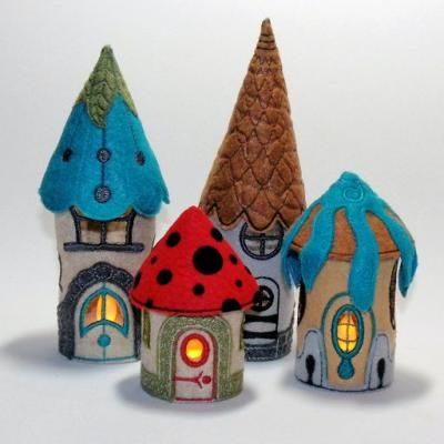Tealight Houses. 3D machine embroidery. These Houses are so cute and look like elf or fairy houses. Try them in other colors as well.
