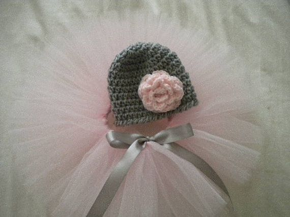 Newborn Baby Girl Tutu and  Matching Flower Hat - Great Shower Gift - Pink And Gray on Etsy, $28.00