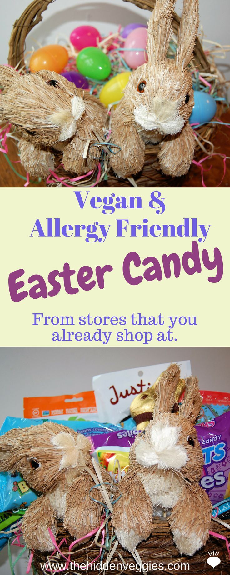 "Vegan and Allergy Friendly Easter Candy from ""Normal"" Stores like Marshall's, TJ Max, Home Goods, Trader Joes, Target and regular grocery stores! thehiddenveggies.com"