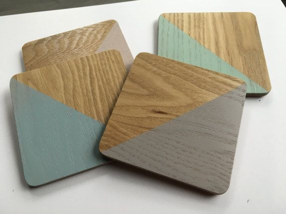 Dipped wooden coasters in pastel colors  by TheNakedTeapotCo
