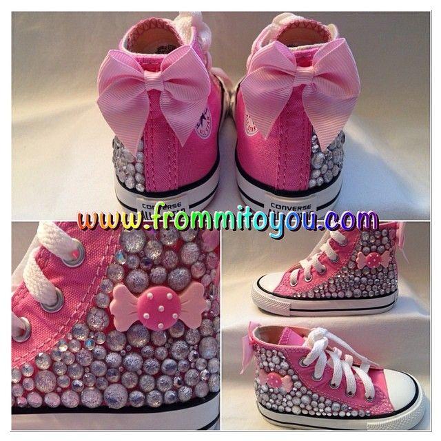 ba6c9d3ce69c  custom  design  pink  converse  chucktaylor  candy  polkadot  white  bow   girl  girlie  bling  rhinestone  kid  kids  children  fr…