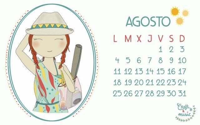 Calendario agosto craft&musi. Imprimibles para el mes de agosto