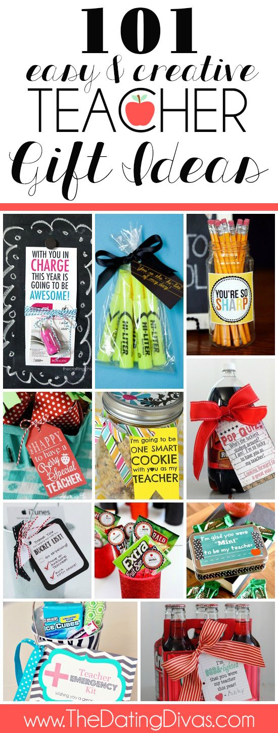 101 Teacher Gift Ideas including ideas for the first day of school, for teacher appreciation week, AND for the end of the school year! JACKPOT!
