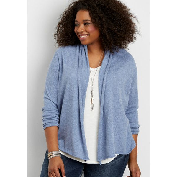 maurices Plus Size - Cardigan With Cable Knit And Lace Up Back,... (2.225 RUB) ❤ liked on Polyvore featuring tops, cardigans, plus size, womens plus size tops, plus size tops, cable knit cardigan, lace-up tops and women's plus size cardigans