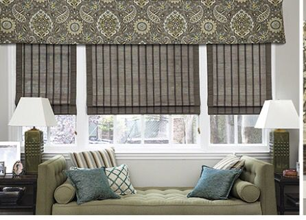 Transitional window treatments with valance and flat Romans  Embellished Home