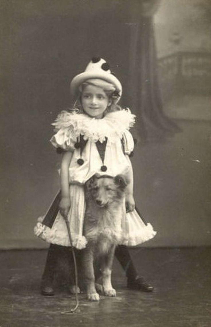 VINTAGE PHOTO: Little clown girl and her adorable dog.