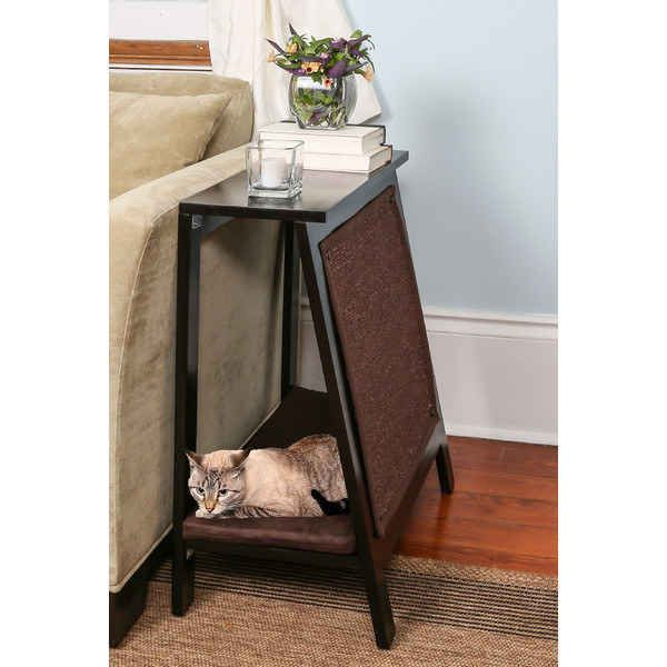 A cat bed that doubles as an end table.