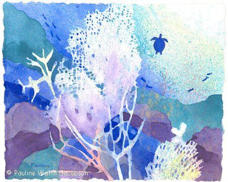 "Watercolor Painting ""Coral Reef Dreams 5"""