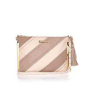 Brown stripe tassel handbag