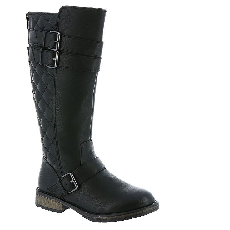"""Steve Madden Kid Girls' Northrn Boots,Black,2. Leather/Synthetic sole. Shaft measures approximately 14"""" from arch. Boot opening measures approximately 13"""" around. Knee High Length."""