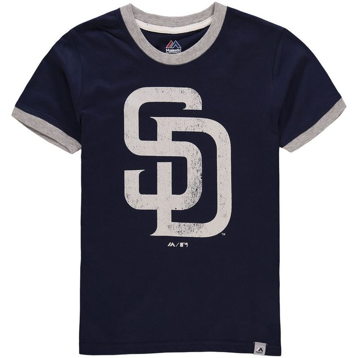 San Diego Padres Majestic Youth Baseball Stripes Ring T-Shirt - Navy