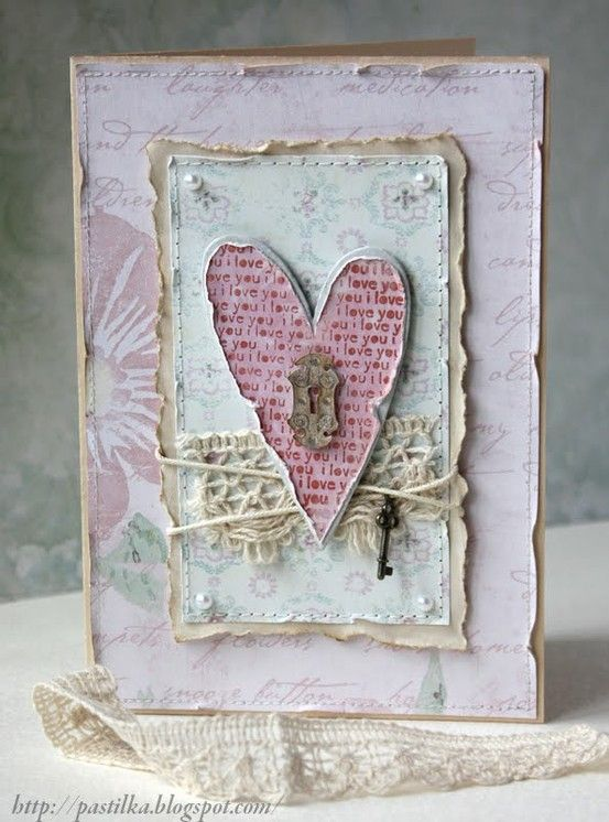 """Shabby """"Key to My Heart"""" Card...with torn edges, twine #shabby chic card"""