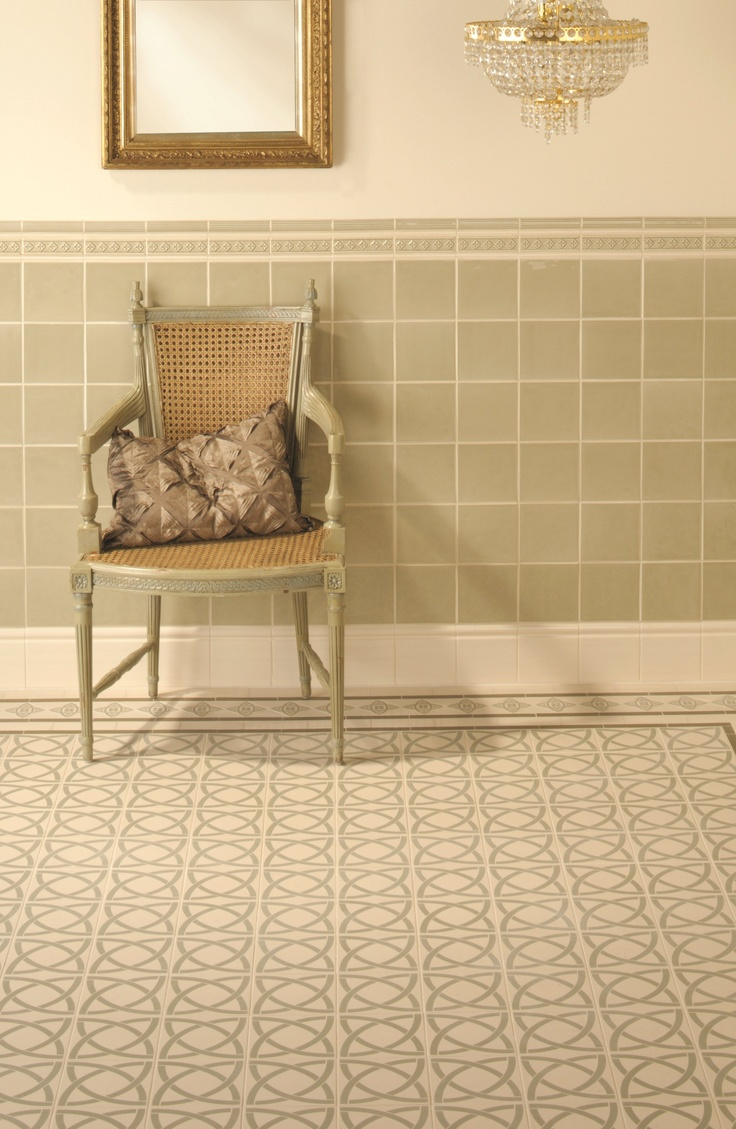 Victorian Floor Tiles - Dublin with a Galway border. Soft green shades make these a pretty look that is easy to live with.