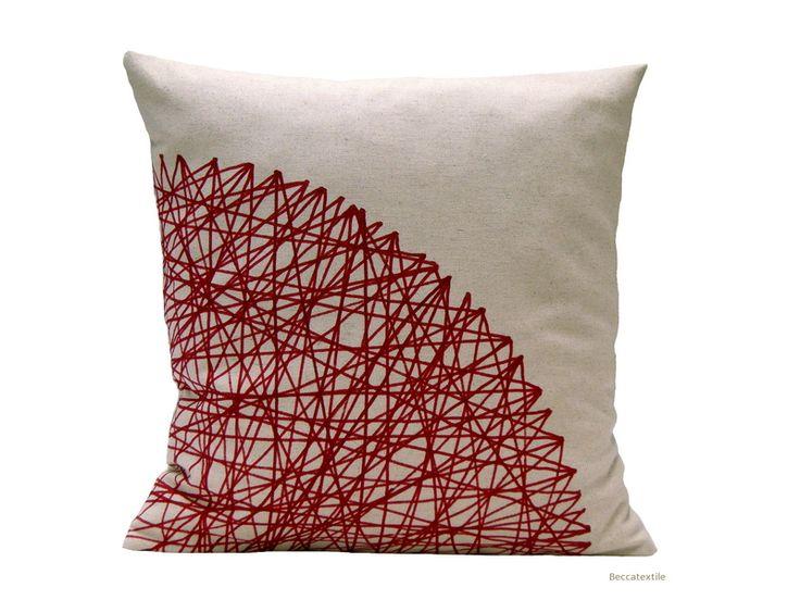 Geometric deep red cushion by BeccaTextile van Becca Textile op DaWanda.com
