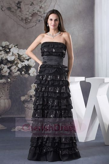 Strapless Ball Gown Floor-length Dress with Ruffles Tiers Sequins