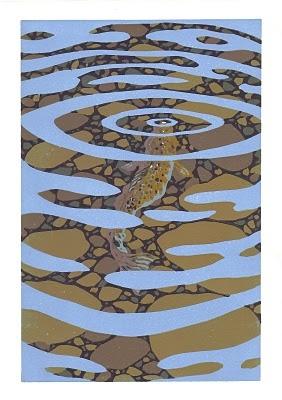Stuart Brocklehurst, reduction print, Brown Trout