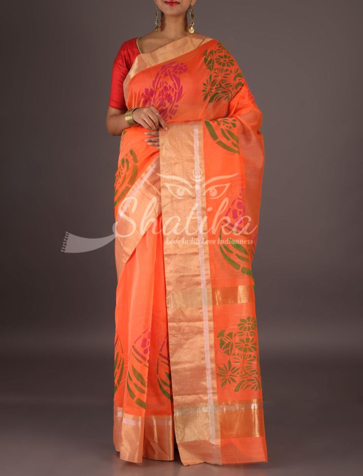 Vanya Peach With Flat Gold Border Colorful Paisleys Chanderi Block Printed Saree