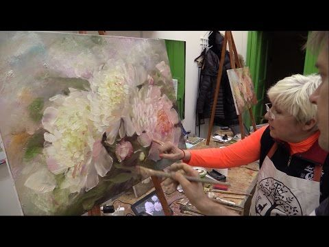 Татьяне. Пионы. Живопись маслом Alla Prima. Process of creating oil painting from Oleg Buiko. - YouTube
