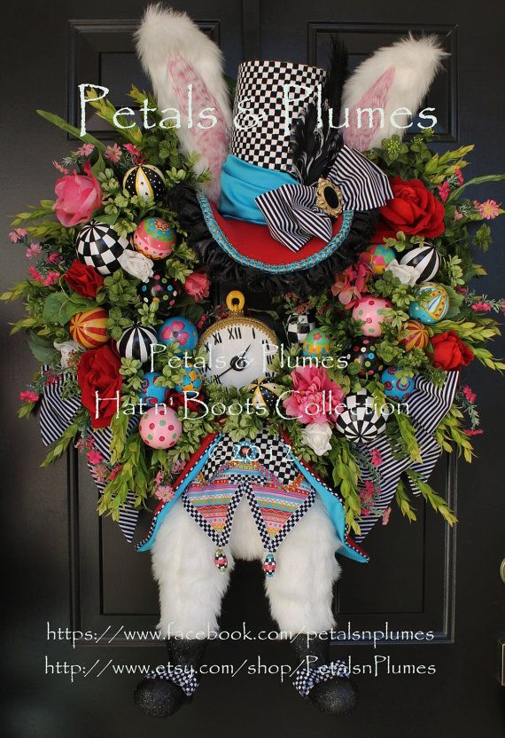 THIS FOR MY FRONT DOOR!!!!!  Don't tell LEE!!!!! :D   MADE to ORDER ThE HaTteR RaBbiTtEaster Bunny by PetalsnPlumes, $459.00