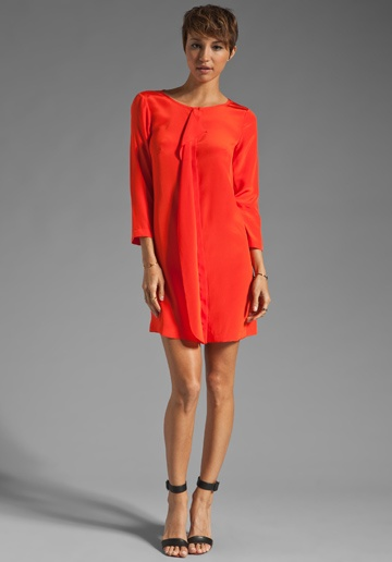 TIBI Solid Silk Drape Front Dress in Deep Coral at Revolve Clothing - Free Shipping!
