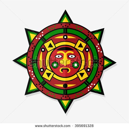 Mayan Sun Icon Symbol - stock vector