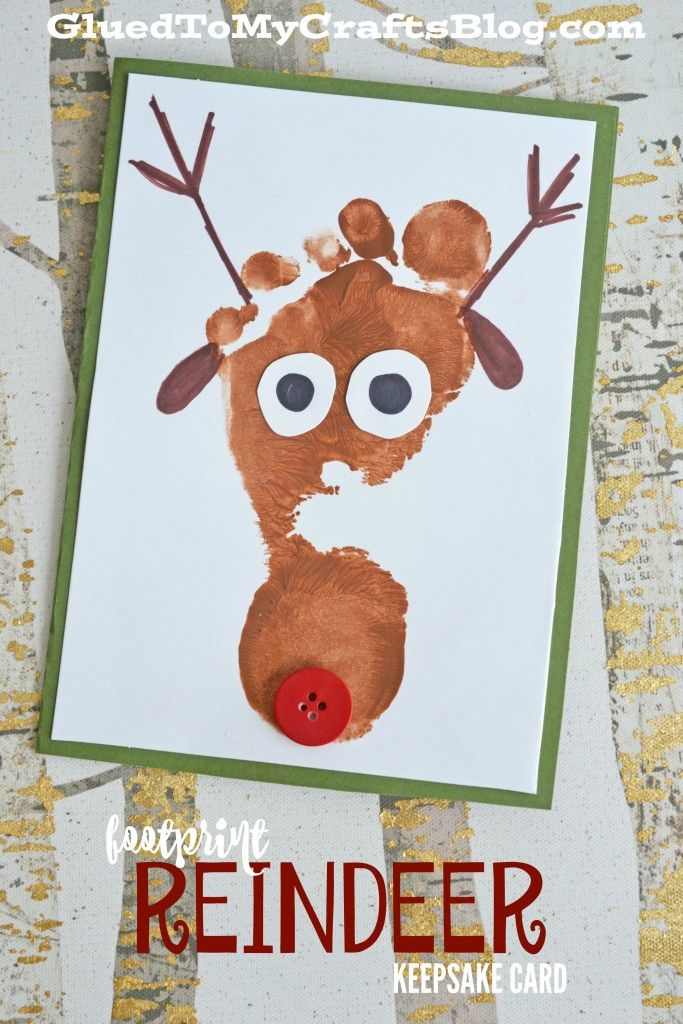 Handprint Christmas Craft Ideas Part - 21: Footprint Reindeer Keepsake Card