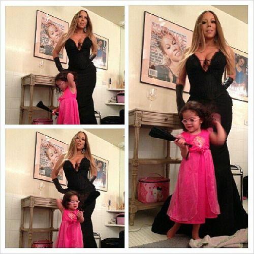 Mariah Carey and daughter Monroe playing #dressups. #mariahcarey #motherhood #makeup #fashion #parenting #beauty