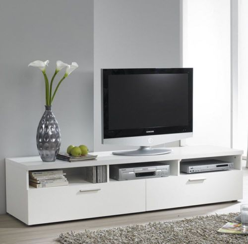 "Contemporary TV Stand 70"" Entertainment Media Center Modern White Home Cabinet  