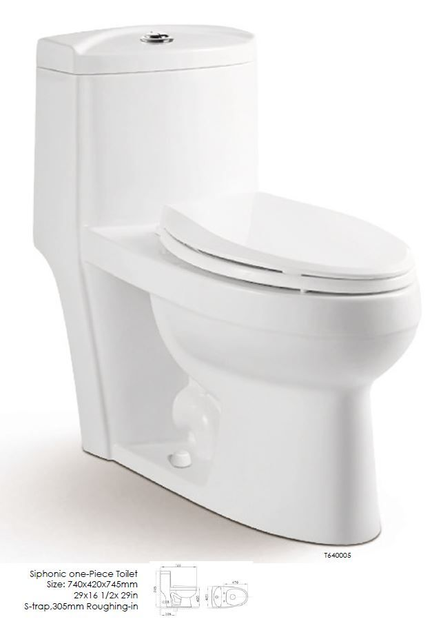 "Siphonic one-piece Toilet. Size 29"" x 16 1/2 x 29"". S-trap. 305mm Roughing-in"