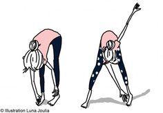 Debout, basculez le haut du corps vers l'avant afin d'aller toucher vos orteils avec vos mains et remontez doucement en déroulant le dos. Lors de l'exercice, il est important de bien contracter les muscles abdominaux. Répétez le mouvement 10 fois. Vous pouvez ensuite varier pour travailler la taille en touchant le pied droit avec la main gauche et inversement.