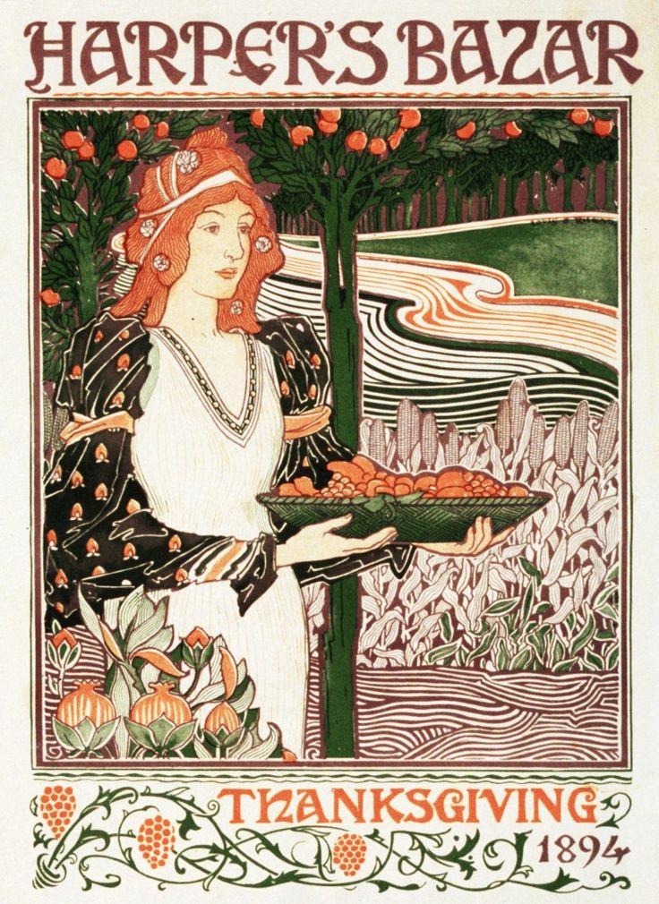 Harper's Thanksgiving 1894 by Louis Rhead - Japanese inspiration (swirls) - a perfect Art Nouveau print