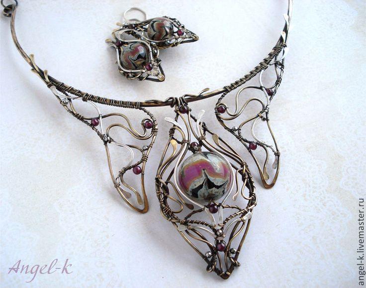 """Купить Колье """"Клеопатра"""" (латунь, серебро, лэмпворк) - украшения ручной работы, авторские украшения"""