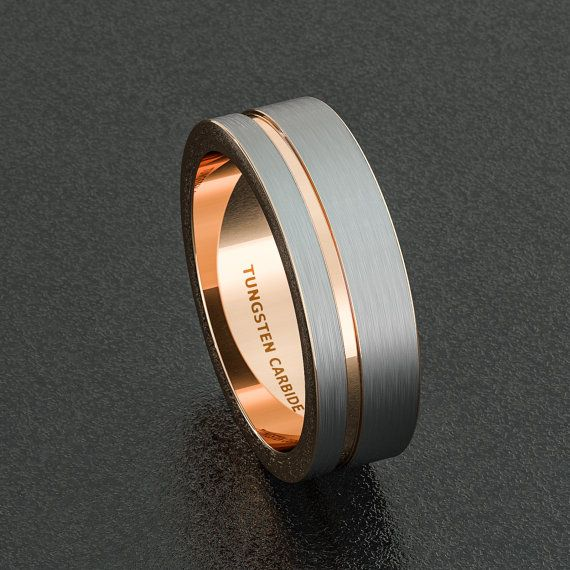 Mens Wedding Band White Tungsten Ring Brushed With Rose Gold Side Groove Flat Edge Comfort Fit By Sydneykimi