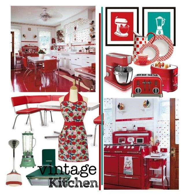 Vintage Kitchen I by betiboop8 on Polyvore featuring interior, interiors, interior design, home, home decor, interior decorating, Cuisinart, Villeroy & Boch, Waring and GreenGate