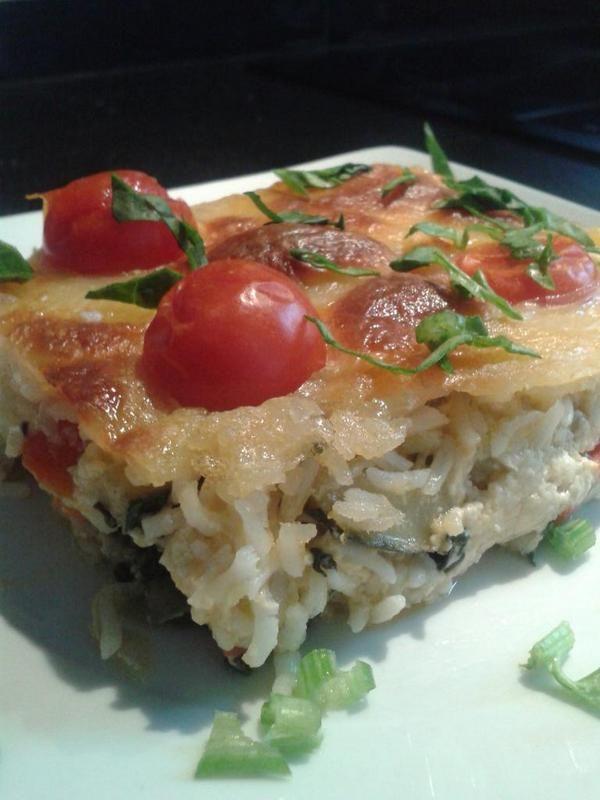 Pastel de verduras y arroz