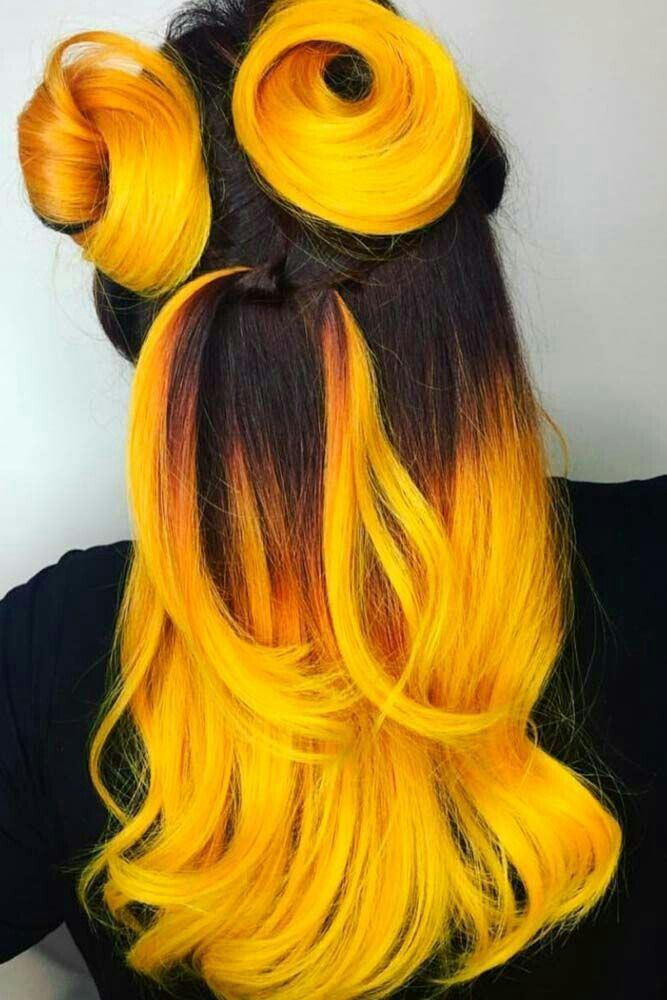 Pin By Misakiakira On شعر ملون للبنات In 2020 Ombre Hair Color Yellow Hair Color Ombre Hair