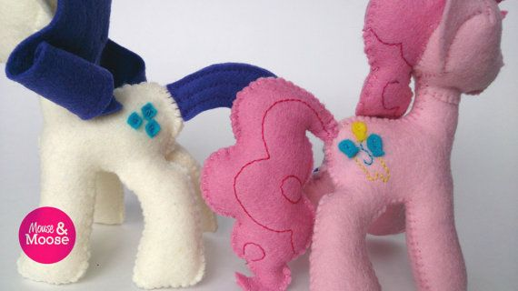 Eco Friendly and sustainable 100% wool felt Rarity and Pinky Pie inspired MLP plush, made by Mouse & Moose on Etsy.  Sustainable felt plushie. MLP collector plush.