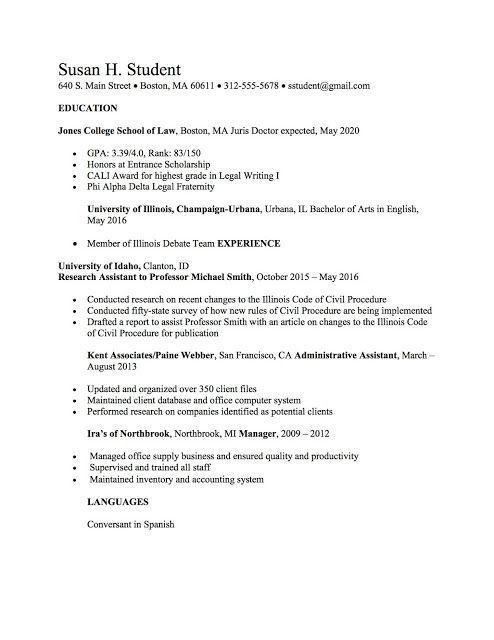 Law School Resume Templates Resume Template Lawschool