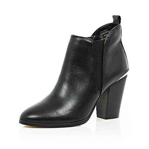 Zwarte leren Chelsea enkellaarsjes met hoge hak - chelsea laarzen - schoenen / laarzen - dames