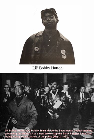 On May 2, 1967, Lil' Bobby Hutton was one of thirty Panthers who traveled to the California state capitol in Sacramento to demonstrate against the Mulford Act, a bill that would prohibit carrying loaded firearms in public. The group walked in to the state assembly armed as a protest to the Mulford Act. Lil' Bobby Hutton Hutton, Bobby Seale and several of the Panthers were arrested.