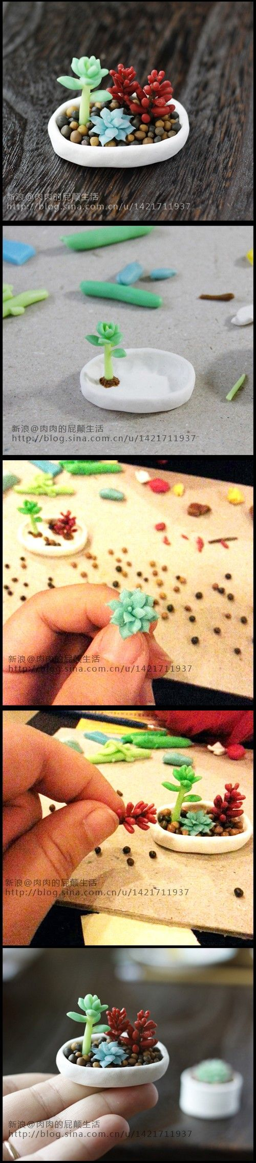 Re-Pin By @siliconem -  Polymer clay succulents