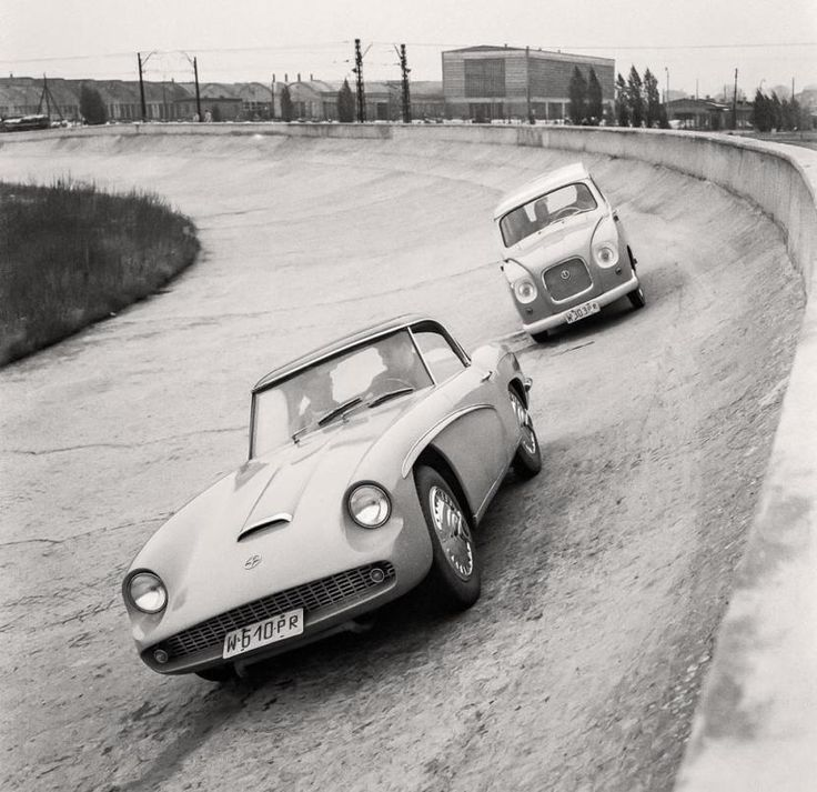 """Prototype cars  """"Syrena Sport"""" and """"Syrena Minibus"""" at a track in factory FSO in Warsaw 1961."""