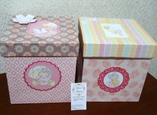Caja para bebe donde podr s guardar talco crema para - Cajas de carton decoradas para bebes ...