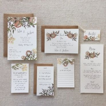 Blush Bouquet with Protea Wedding Stationery