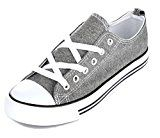 Womens Casual Canvas Shoes Solid Colors Low Top Lace Up Flat Fashion Sneakers (7 Grey) Reviews